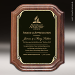 Engraved Walnut Plaque Black Brass Scallop Edge Wall Placard Award Walnut Finish Plaques