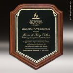 Engraved Walnut Plaque Black Brass Shield Edge Wall Plaque Award Walnut Finish Plaques