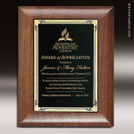 Engraved Walnut Plaque Black Brass Pinnacle Edge Wall Placard Award Walnut Finish Plaques