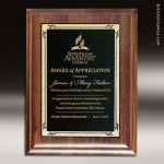 Engraved Walnut Plaque Black Brass Presidential Edge Wall Placard Award Walnut Finish Plaques