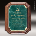Engraved Walnut Plaque Green Marble Scallop Edge Wall Placard Award Walnut Finish Plaques