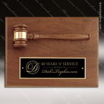 Engraved Walnut Plaque Gavel Mounted Black Brass Plate Wall Plaque Award Walnut Gavel Plaques