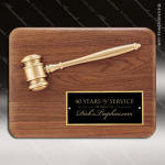 Engraved Walnut Plaque Gavel Antique Bronze Wall Plaque Award Walnut Gavel Plaques