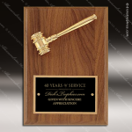 Engraved Walnut Plaque Gavel Mounted Gold Metal Wall Plaque Award Walnut Gavel Plaques