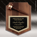 Engraved Walnut Plaque Gavel Mounted Black Shield Plate Wall Plaque Award Walnut Gavel Plaques