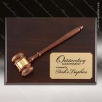 Engraved Walnut Plaque Gavel Mounted Gold Plate Wall Plaque Award Walnut Gavel Plaques