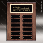 The Mercarda Walnut Perpetual Plaque  12 Black Plates Walnut Perpetual Plaques