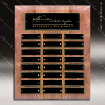 The Micheli Walnut Perpetual Plaque  24 Black Plates Walnut Perpetual Plaques