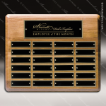 The Mizzell Walnut Perpetual Plaque Round Corner  24 Black Plates Walnut Perpetual Plaques