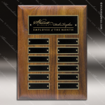 The Micheli Walnut Perpetual Plaque  12 Black Plates Walnut Perpetual Plaques