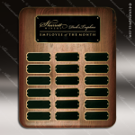 The Jessup Walnut Perpetual Plaque Round Corner  18 Black Plates Walnut Perpetual Plaques