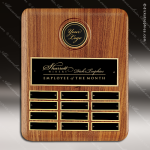 The Tefollla Walnut Perpetual Plaque  12 Black Plates Medallion Walnut Perpetual Plaques