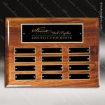 The Memmott Walnut Piano Finish Perpetual Plaque  12 Black Plates Walnut Piano Finish Perpetual Plaques