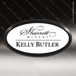 Laser Etched Engraved White Name Badge Black Frame Magnet Backed White Name Badges