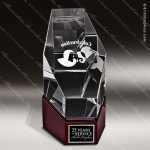 Crystal Wood Accented Optic Newport Octagon Tower Trophy Award Wood Accented Crystal Awards