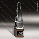 Crystal Wood Accented Obelisk Pyramid Jewels Ll Trophy Award Wood Accented Crystal Awards