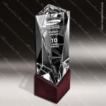 Crystal Wood Accented Optic Baoa Triangle Trophy Award Wood Accented Crystal Awards