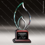 Macareno Flame Glass Rosewood Accented Trophy Award Wood Accented Glass Awards