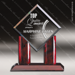 Macareno Jewel Glass Rosewood Accented Diamond Trophy Award Wood Accented Glass Awards