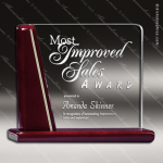 Tacloban Square Glass Rosewood Accented Presentation Trophy Award Wood Accented Glass Awards