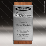 Wood Silver Accented Rectangle Allegiant Trophy Award Wood Accented Trophy Awards
