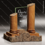 Wood Accented Column Eco-Athens Trophy Award Wood Accented Trophy Awards