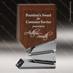 Wood Accented Rectangle Walnut Wonder Trophy Award Wood Accented Trophy Awards