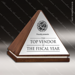 Wood Silver Accented Triangle Vertex Trophy Award Wood Accented Trophy Awards