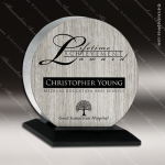 Wood Silver Accented Circle Eirene Trophy Award Wood Accented Trophy Awards