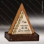 Wood Accented Triangle Natura Tri-Mid Trophy Award Wood Accented Trophy Awards