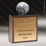 Wooden Square Simple Standing Globe Trophy Award Wood Awards