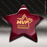 Engraved Rosewood Piano Finish Star Paperweight with Felt Bottom Award Wood Awards
