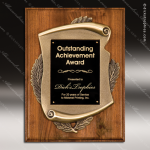 Engraved Walnut Plaque with Metal Scroll Relief Wall Placard Award Wood Awards