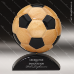Wood Black Accented Soccer Ball Trophy Award Wood Awards
