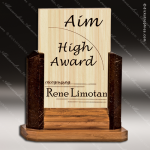 Wood Accented Rectangle Bamboo Brown Coconut Shell Trophy Award Wood Awards