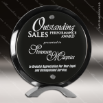 Acrylic Black Accented Piano Finish Circle Round Standup Trophy Award Wood Awards