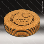 Laser Engraved Cork Coaster Set Round Etched Gift Wood Round Edge Coaster Sets