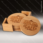 Laser Engraved Wood Coaster Bamboo Set Round Etched Gift Wood Round Edge Coaster Sets