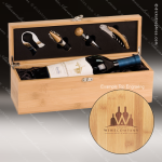 Engraved Etched Wine Tool Set Bamboo Presentation Box Gift Set Award Wood Wine Boxes & Tool Sets
