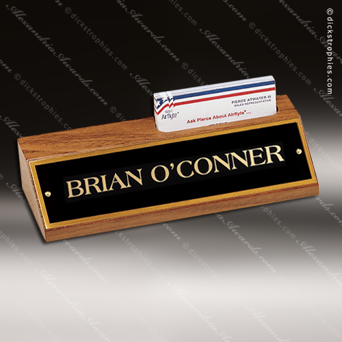 Desk Gift Engraved Walnut Name Plate Desk Wedge With Business Card