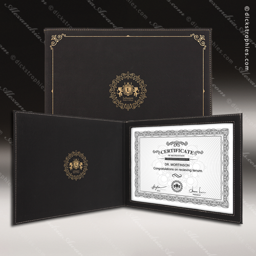The Japel Engraved Leather Certificate Holder Black With