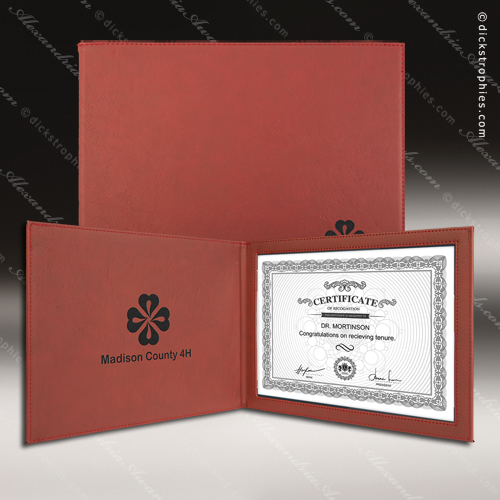 The Japel Engraved Leather Certificate Holder Rose With