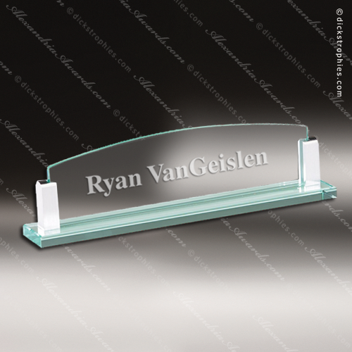 Engraved Glass Jade Name Plate Desk
