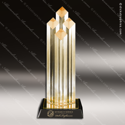 Acrylic Gold Accented Diamond Columns Award Employee Trophy