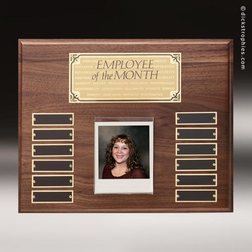 Perpetual Walnut Plaque Employee of the Month Photo Gold Wall ...