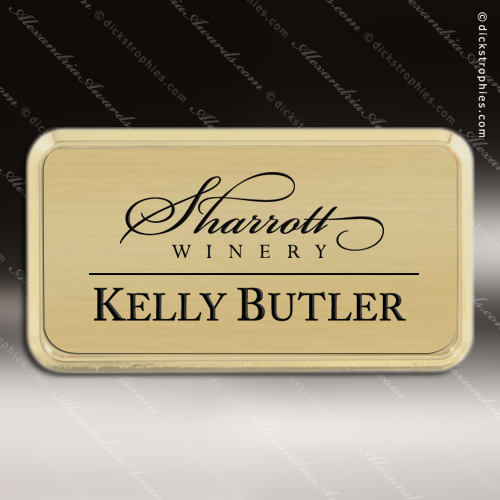Laser Etched Engraved Gold Name Badge Gold Frame Magnet