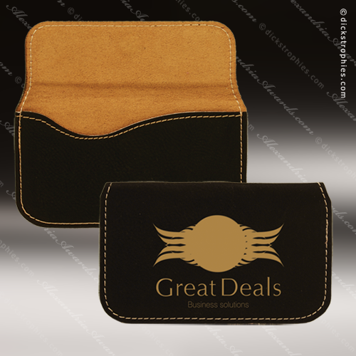 Engraved Leather Business Card Holder Soft Case Desk Gift