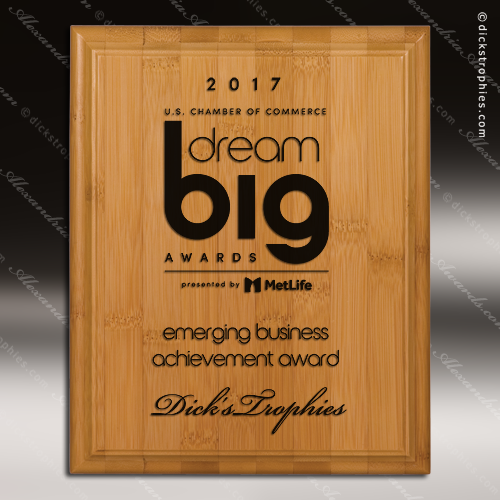 Engraved Bamboo Plaque Laser Etched Recognition Wall Placard