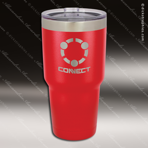 111170ac9ae Engraved Stainless Steel 30 Oz. Mug Polar Tumbler Red Laser Etched ...