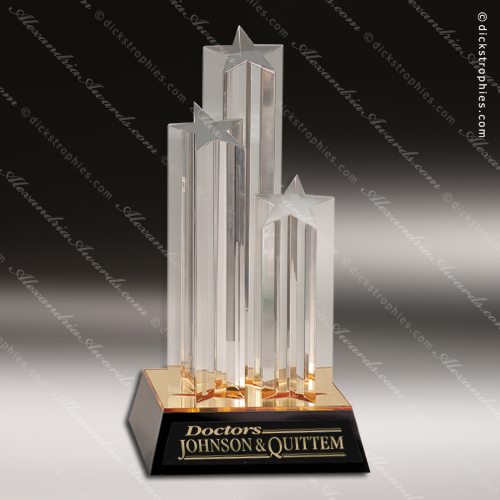 Acrylic Gold Accented Standing Star Columns Award Star